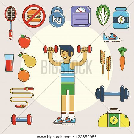 Healthy lifestyle. Vector flat icon set, illustration esp10