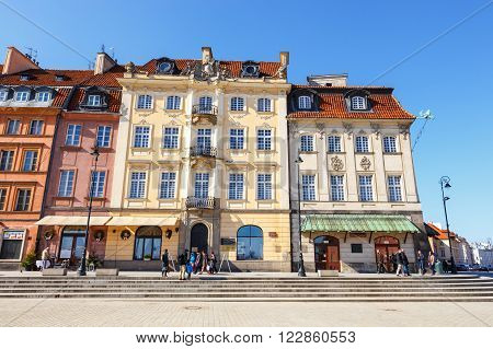 Warsaw, Poland, 13 March 2016: Old Town Square In Warsaw In A Sunny Day. Warsaw Is The Capital Of Po