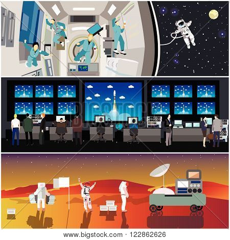 Space mission control center. Rocket launch vector illustration. Astronauts in space station and outer space. Landing to Mars landscape concept.