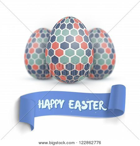 Illustration of Realistic Vector Easter Egg Set. Happy Easter Painted Vector Egg Set with Ribbon Banner and DOF Photography Effect Isolated on White Background