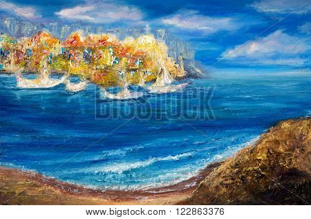 Original oil painting showing abstract ships or boats in ocean or sea on canvas. Modern Impressionism modernismmarinism