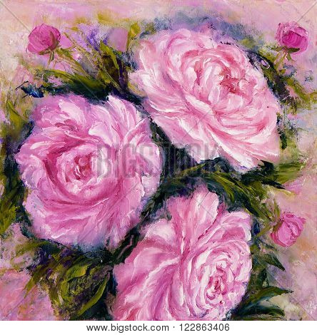 Original oil painting showing pink peony flowers bouquet. Genus Paeonia family Paeoniaceae.Modern Impressionism modernismmarinism