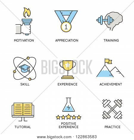 Vector set of icons related to business corporate management employee organization and customer relationship management.