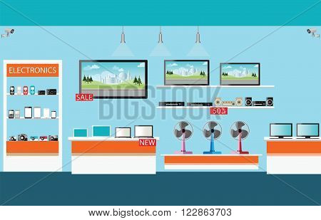 Electronics store interior laptops mobile phones television Computers pocket wifi camera and fan on shelf vector illustration.