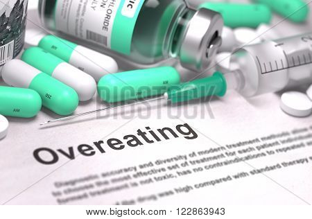 Diagnosis - Overeating. Medical Concept with LIght Green Pills, Injections and Syringe. Selective Focus. Blurred Background. 3D Render.