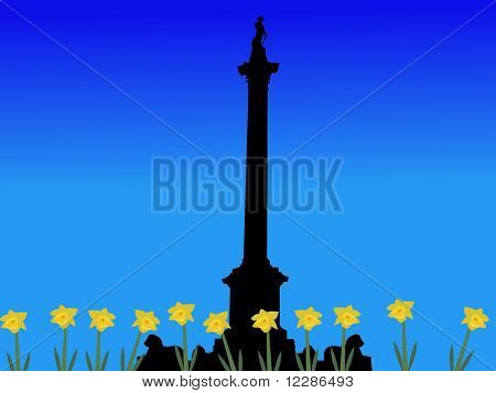 Trafalgar Square London in springtime with daffodils