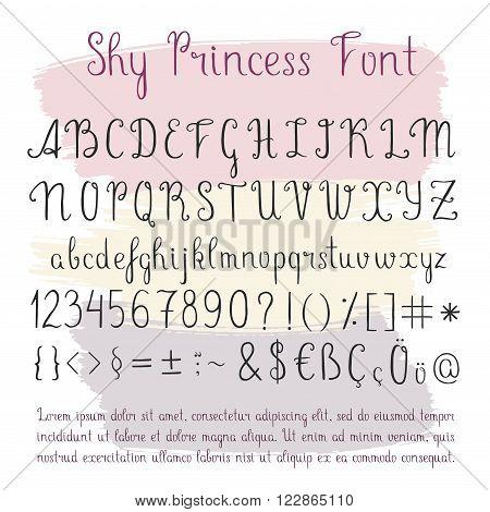 Handwritten linear font, vector script calligraphy. Hand drawn thin letters, doodle alphabet