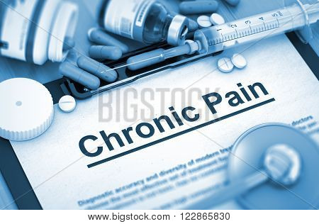 Diagnosis - Chronic Pain On Background of Medicaments Composition - Pills, Injections and Syringe. Toned Image. 3D Render.