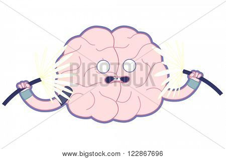 Shocked brain holding two sparking electrical cables flat cartoon illustration - train your brain series. Part of the Brain collection.
