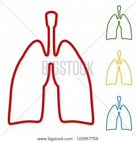 Human organs. Lungs sign. Set of line icons. Red, green, yellow and blue on white background.
