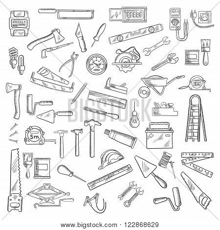 Tools icons with wrench and hammer, axe and saw, brushes and rollers, ruler and light bulbs, wheelbarrow and jack plane, trowel and rasp, knives and awls, nails and battery, ladder and tape measures