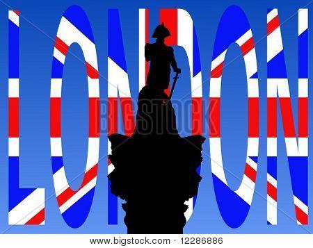 Nelson's Column Trafalgar Square with flag text