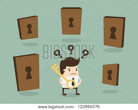 Businessman choosing the right door. Business Concept Cartoon Illustration.