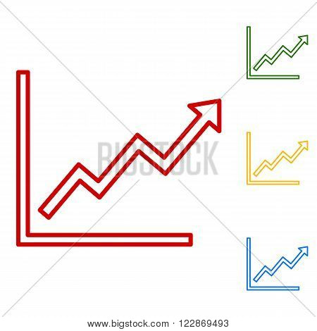 Growing bars graphic sign. Set of line icons. Red, green, yellow and blue on white background.
