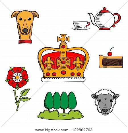 Britain royal crown adorned by heraldic elements with sketches of national symbols of Great Britain such as heraldic tudor rose and tea set, fruitcake and Buckingham park, dog and sheep