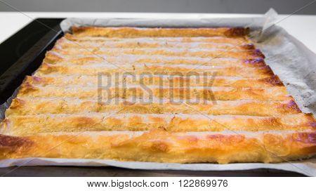 Baked Homemade Traditional Balkan Dish Burek. Cheese Or Meat Pie