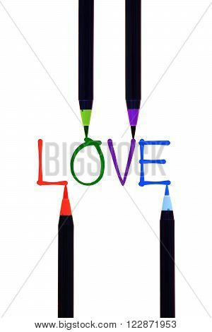 colourful brushwork isolated in love on white background
