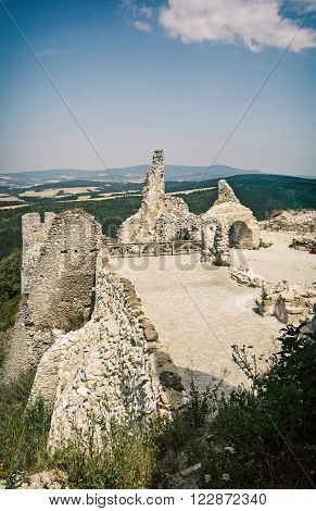 Ruins of the Cachtice castle Slovak republic central Europe. Seat of bloody countess. Vertical composition.