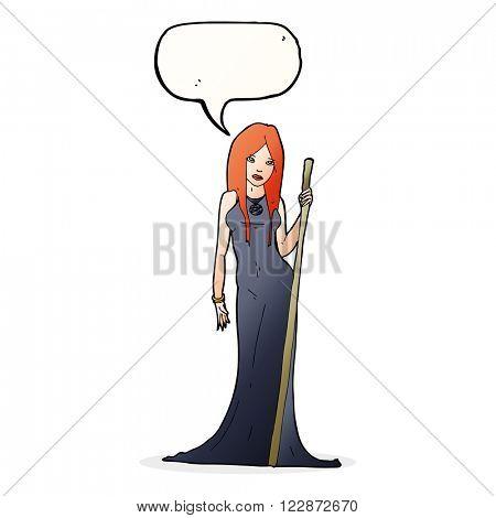 cartoon sorceress  with speech bubble
