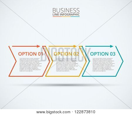 Thin line flat elements for infographic. Template for diagram, graph, presentation and chart. Business concept with 3 options, parts, steps or processes. Data visualization. poster