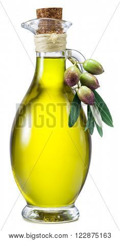 Bottle of olive oil and berries on a white background. File contains clipping paths.