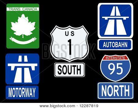 international Highway signs illustration American Canadian German and British  JPG