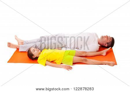 Handsome man father dad practicing yoga with his cute adorable beautiful daughter isolated on white background poster