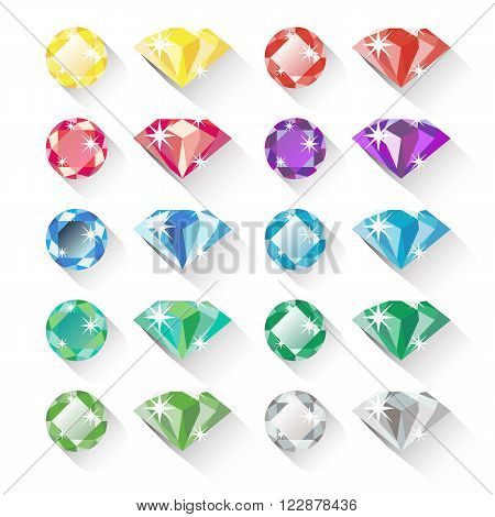 Set of colorful precious gem icons in flat style with long shadows. Ten precious gems in different colors and two shapes each. Flat design icons isolated on white. Vector illustration