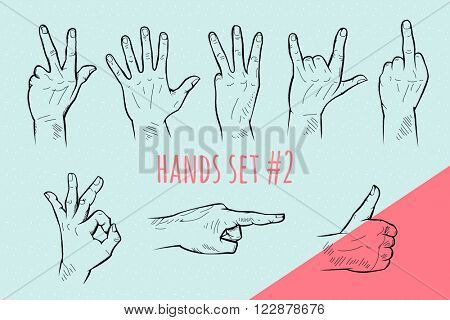 Vector hand gesture set. Pencil drawn signs sketch illustration on blue background.
