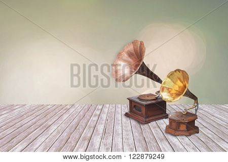 Vintage phonograph record player gramophone on Multicolored defocused bokeh lights for background or texture