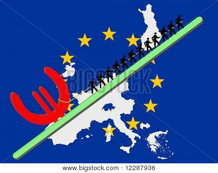 Workers pulling giant Euro sign with European union flag and map of countries that use the euro JPG