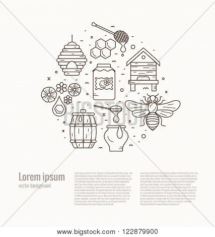 Beekeeping product icon set. Beekeeping vector symbols. Bee, honey, bee house, honeycomb, apiary, beehive, flower. Outline style beekeeping product icons. Beekeeping product illustration