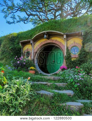 Hobbiton Film Set, New Zealand - March 31, 2015: Bilbo Baggins' hobbit home in Hobbiton in Matamata, New Zealnd