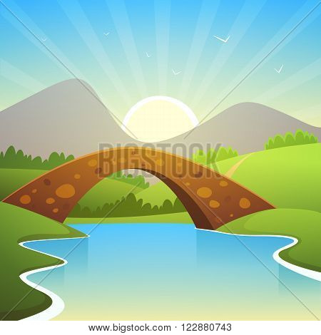 Cartoon summer landscape with bridge and mountains in background.