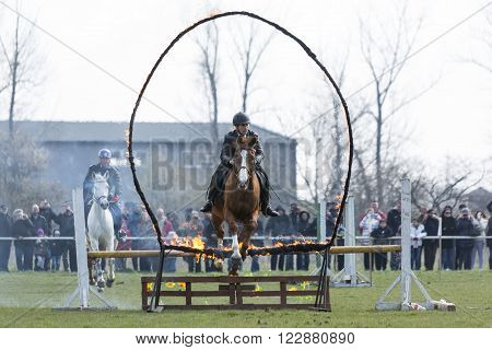 Horse Police Fire Barrier Jumping