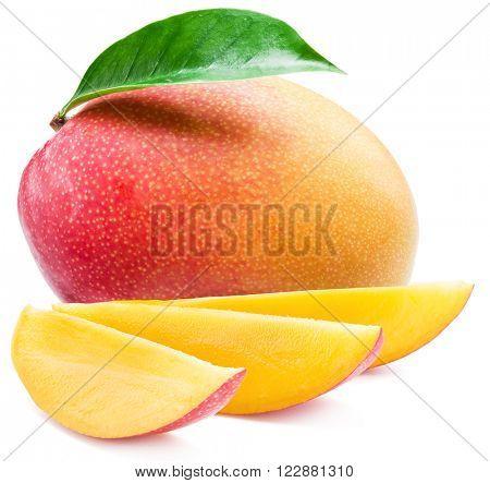 Mango fruit and mango slices. Isolated on a white background.