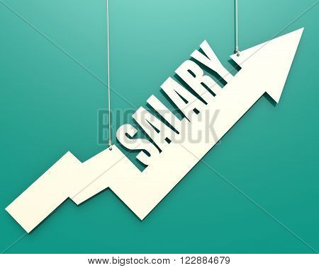 White Arrow With Salary Word Hang On Cyan Background