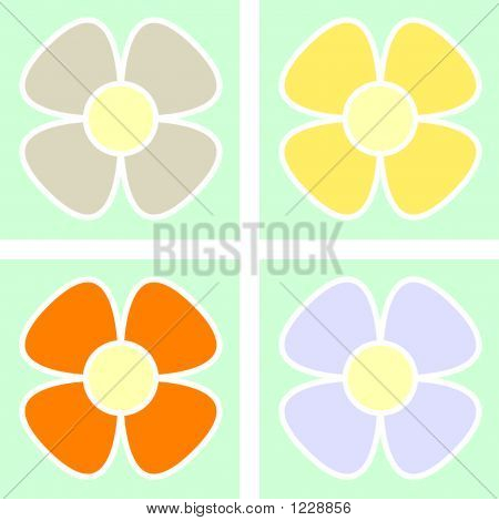Colorful Pastel Floral Background, Scalable - Vector Illustration