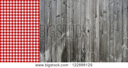 Rustic Background Grey old wood and red white tablecloth