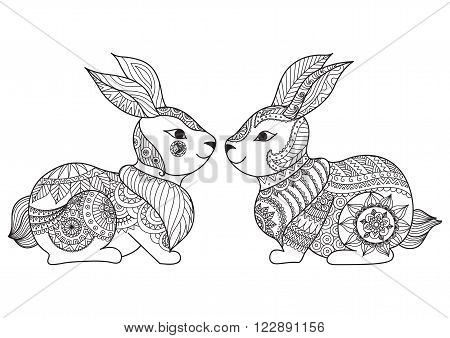 Two cute little rabbit line art design for coloring book, cards, t shirt design and so on