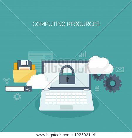 Vector illustration. Flat cloud computing background. Data storage network technology. Multimedia content , web sites hosting. Memory, information transfer.