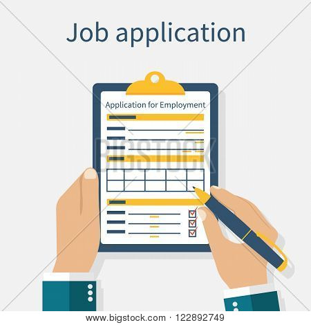 Man with clipboard in his hand fills in the form of employment. Job application form. Write documents. Vector illustration in flat design style. Application for employment.