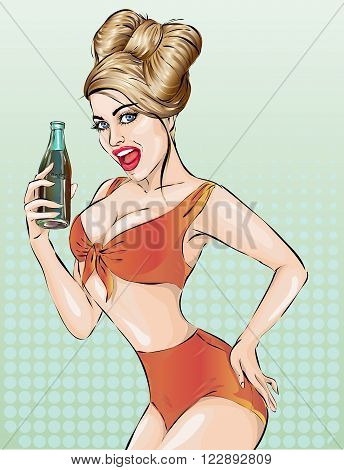 Sexy Pop Art Woman With Bottle. Pin-up