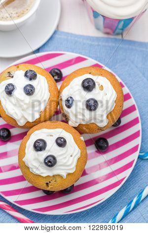 Sweet Delicious Muffins Cream Cranberries