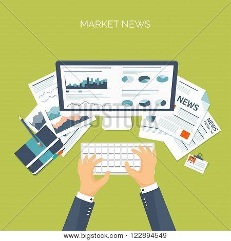 Vector illustration. Flat header. Online market news. Newsletter and information. Business and market news. Financial report.