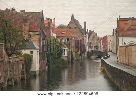 Rainy day in Bruges Belgium. Brugge street houses buildings and bridge. Autumn time. Oil painting textured image based on photo poster