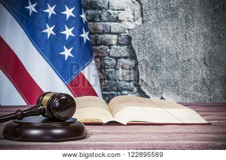 Gavel , book and USA flag
