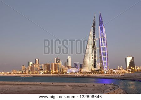 MANAMA, BAHRAIN - NOV 14: Bahrain World Trade Center Skyscraper in Manama City. November 14, 2015 in Manama, Kingdom of Bahrain
