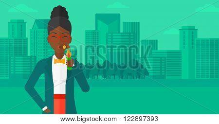 Woman smoking cigar.