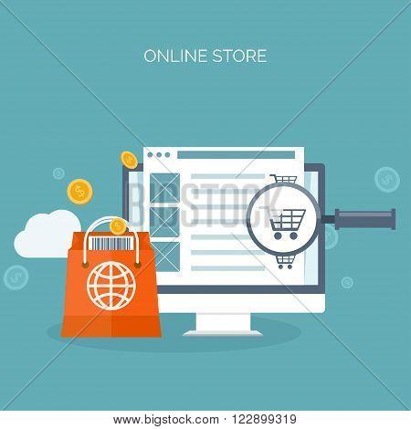 Vector illustration. Flat header. Shopping. Web store. Global communication, trading. E-business. Commerce, money making. Internet banking.